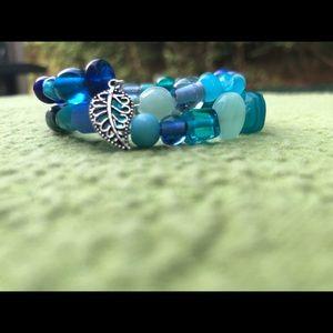 Cool Blue & Green Wrap Bracelet